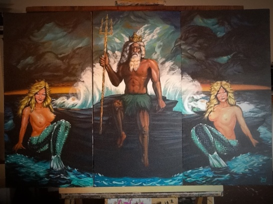 King Neptune with 2 mermaids