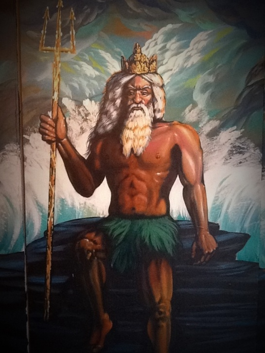 Close of King Neptune, part of triptych